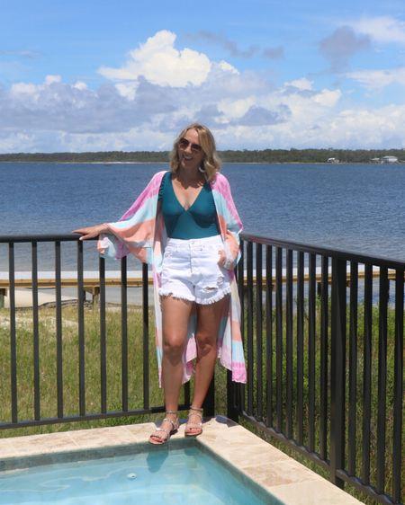 Target white shorts Run small size up High rise white distressed shorts Amazon swimsuit Cupshe swimsuit Rainbow kimono   http://liketk.it/3jqlw #liketkit @liketoknow.it #LTKunder50 #LTKstyletip #LTKswim