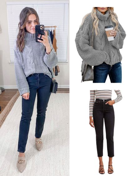 Amazon fashion items I bought vs how I styled them! Grey cable knit turtleneck sweater (tts), Levi's icon black wedgie straight jeans (tts)   #LTKstyletip #LTKunder100