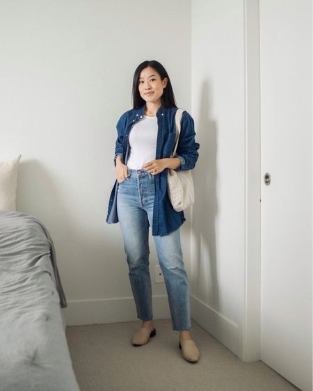 Blue on blue - favourite colour combination 🌀 I forgot how much I love this oversized shirt (a hand-me-down from the fiancé) and I'm excited to wear it again this fall. Cozy + casual feels 💙  #LTKSeasonal #LTKstyletip #LTKunder50