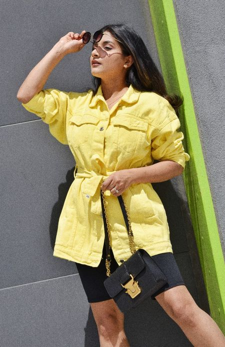 Who else is loving the pantone color of the year? You can shop this yellow Denim Belted Jacket yours and get 18% discount using code SHREYA on Zaful. I am wearing small size. #denimjacket #summerjacket #yellowjacket   #LTKitbag #LTKstyletip #LTKunder50