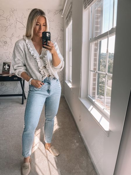 Ruffle  cardigan, mom jeans   #LTKSeasonal #LTKunder50 #LTKstyletip