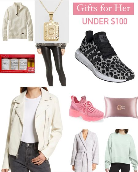 Back with another holiday gift card from Nordstrom! All of these gifts for her or under $100 and would be perfect for Christmas, Hanukkah, or any other holiday gift. This includes some sweaters and tops, active sneakers, silk pillowcase, hair care, cozy robe, jewelry, faux leather leggings, and more. Also includes top brands like Levi's, Adidas, and Nike.  #LTKGiftGuide #LTKHoliday #LTKunder100