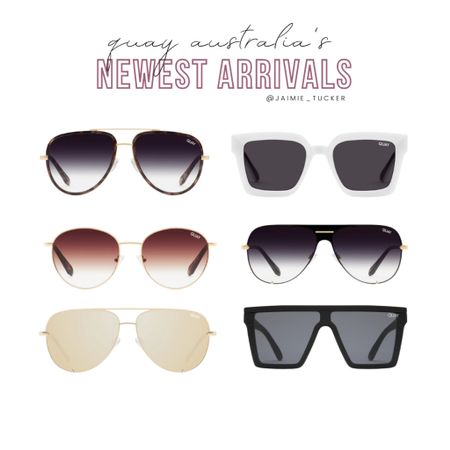 Check out Quay's newest sunglasses and aviator arrivals! | #sunglasses #summershades #womensshades #QuayAustralia #QuaySunglasses #SummerEssentials #Summeraccessories #JaimieTucker  #LTKswim #LTKstyletip #LTKtravel