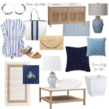 Lots of fun blue and white decor and fashion finds!    http://liketk.it/3b4sy #liketkit @liketoknow.it @liketoknow.it.home #LTKhome #LTKSpringSale #LTKunder100 bathroom vanity, coastal decor, blue lamp, Serena and Lily dupe, Serena and Lily pillows, blue pillows, coastal coffee table, J. Crew, coverup, sandals, beach bag, white tray, white planter