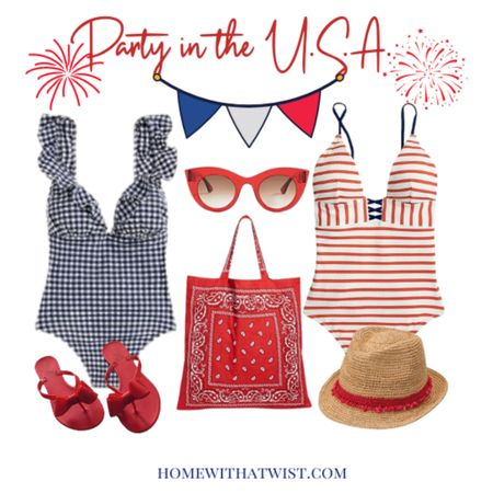 You will rocket into the pool party with our cute red, white and blue swimsuits and accessories. #LTKstyletip #LTKtravel @liketoknow.it Screenshot or 'like' this pic to shop the product details from the LIKEtoKNOW.it app, available now from the App Store! http://liketk.it/3iGUe #liketkit