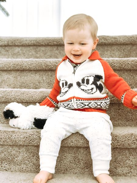 This Mickey Mouse sweater from Gap would look SO cute for family Christmas photos! He sleeps with this Warmies cow and carries him around everywhere. You can heat them in the microwave to warm it's lavender scented beads. It would make a great gift!   #LTKgiftspo #LTKsalealert #LTKkids