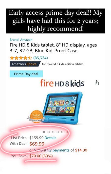 Amazon prime day deals for kids Amazon fire hd 8 kids tablet  #LTKsalealert #LTKfamily #LTKkids