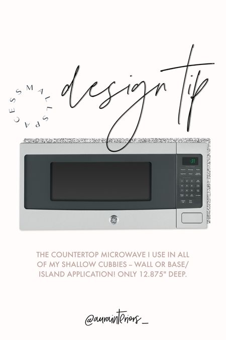 """The BEST microwave for small spaces! This is the smallest [front-to-back] unit I've found that still has a mid-range internal size of 1.1 cubic ft. + a turntable. I use this in all of my kitchens + pantries. My clients love it! ⭐️⭐️⭐️⭐️⭐️  More tips: • Works on countertops + open shelves too! I typically place it in a microwave cubby.  • Make sure your cubby OPENING SIZE is at least 24.5""""Wx14""""Dx12.5""""H.  • Make sure your cubby interior is finished to match the cabinetry exterior.  • Make sure the back of your cubby has an outlet to power the micro.  • Do NOT order the trim kit. Contrary to popular belief, you don't need it + it looks crazy.  • DM me with ?s on Insta: @aurainteriors_ 🙂  Shop my daily looks by following me on LIKEtoKNOW.it! 🖤 http://liketk.it/3ih9C #liketkit @liketoknow.it @liketoknow.it.home #LTKhome #LTKstyletip   shallow-depth microwave, narrow microwave, less-deep microwave, 12"""" deep microwave, 13"""" deep microwave, 14"""" deep microwave, 15"""" deep microwave, microwave wall cabinet, shallow microwave, less depth microwave, small depth microwave, shallow depth microwave, small kitchen tips, small kitchen ideas, small microwave tips, small kitchen ideas, small designer kitchen, narrow island, shallow island, microwave in island, small island microwave, microwave in cabinet, microwave in cubby, small microwave cubby, small countertop microwave, microwave for shallow countertop, microwave for narrow counter, microwave for narrow countertops, microwave narrow counters, microwave shallow counters, microwave shallow counter, small space microwave, small kitchen microwave, less deep microwave cubby, shallow microwave cubby, shallow depth microwave cubby, microwave on shelf, microwave on floating shelf, microwave narrow shelf, microwave shallow shelf, micro floating shelf, microwave on shelf, microwave in pantry, micro in pantry, microwave in butler's pantry, micro butlers pantry, pantry microwave cubby, microwave on shelf"""