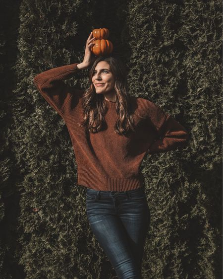Loving this super comfy chenille sweater in the perfect fall color! It's goes well with any fall outfit!   I sized up one size to a medium (which I typically do with sweaters, jackets, and coats).    #LTKSeasonal #LTKunder100