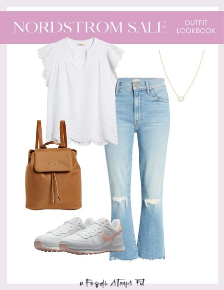 I have these jeans without the distressing, and now I really want this pair too! Mother denim is very pricey, so for it to be included in the Nordstrom anniversary sale is a great deal! I love this eyelet white top for the spring and the fall, and I love a good pair of white sneakers for every day!  #LTKsalealert