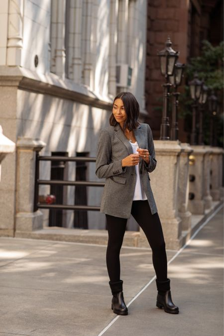 How to make a rainy day outfit chic? Layer your t-shirt and leggings with a blazer! Shop my @loft look with  a screenshot of this picture with @shop.ltk or with link in bio/stories #LOFTimist #ad   #LTKstyletip #LTKunder100 #LTKworkwear