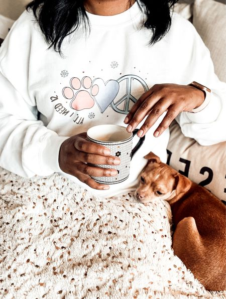 Dog Mom Sweatshirts. Winter Sweat Shirts. Athleisure wear. Pottery Barn Sectional. Reserved for The Dog throw pillow. Metallic Throw Blankets. Faux fur throw blankets. Anthropologie Coffee Mugs.   Sweater: www.cavology.com. Save 10% when you shop Cavology with code LINDSEYANDCOCO.    #LTKSeasonal #LTKHoliday #LTKGiftGuide