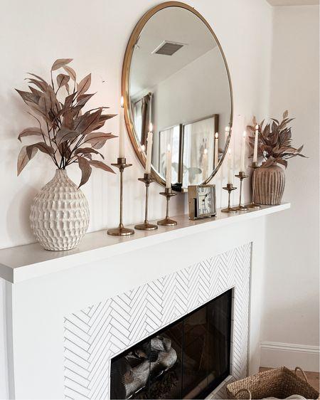Mantel decor, fall decor, living room, neutral home decor, StylinAylinHome   #LTKunder100 #LTKSeasonal #LTKhome