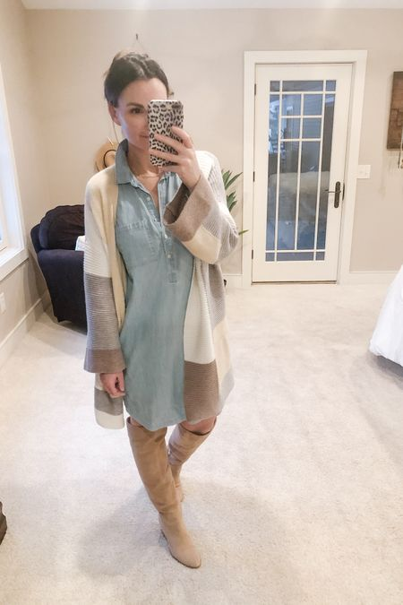 I'm attempting to transition out of the leggings girls! 😆 I've pretty much lived in them for the last three months and it's time to bid farewell to the slumps of winter. I've got Spring on the mind! This colorblock cardigan is great for any season and everything in between. I love the neutral colors in it. A chambray dress is a closet staple must have because it can be styled so many ways!   http://liketk.it/39RsE #liketkit @liketoknow.it   Shop my daily looks by following me on the LIKEtoKNOW.it shopping app