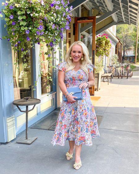 Rehearsal dinner dress.  Cocktail dress. Fall dress. Wearing size 2. Sea by New York dress. Fall floral dress. Gold Loeffler Randall mules.   #LTKtravel #LTKsalealert #LTKwedding