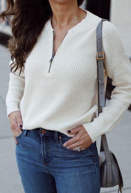 Half zip waffle knit sweater tts
