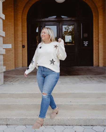Cozy sweater with stars rails wearing a size xl  Paired with fall good American denim    #LTKstyletip #LTKcurves #LTKSeasonal