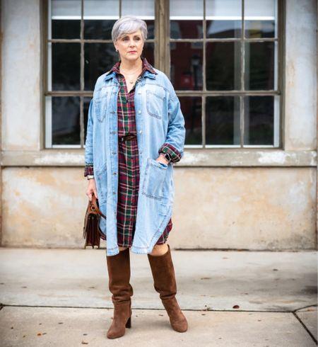 plaid dress & suede boots  #LTKstyletip