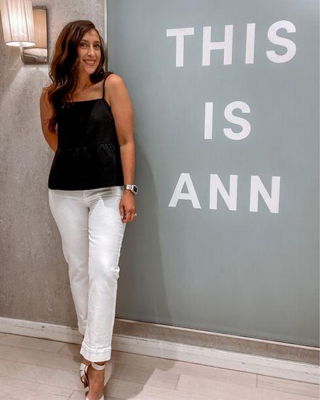 Ann Taylor Peplum Top and White Jeans  http://liketk.it/3iEM9 #liketkit @liketoknow.it #LTKstyletip #LTKcurves