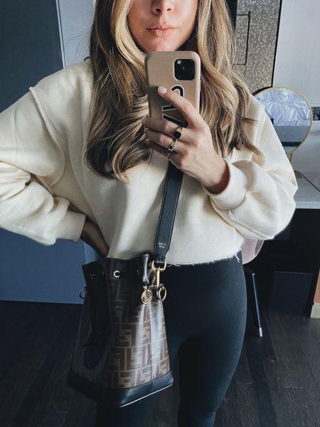 Cropped sweatshirt and spanx leggings #fallootd   #LTKSeasonal