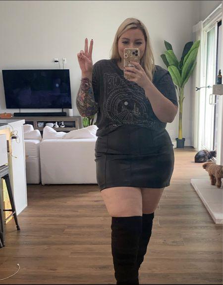 Perfect faux leather skirt. Wearing size large.  #LTKSeasonal