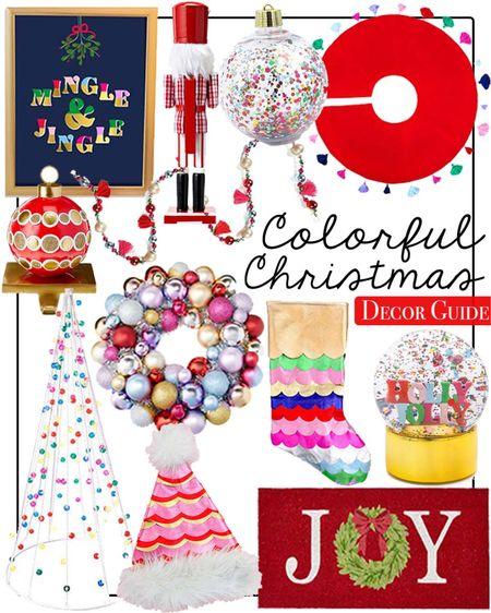 Colorful Christmas decor  Home decor  Walmart home    #LTKhome #LTKGiftGuide #LTKHoliday
