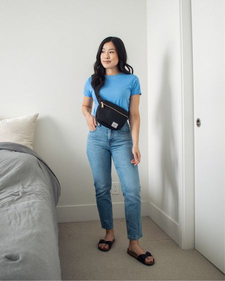 Incorporating colour into my neutral wardrobe in the form of this blue t-shirt from Encircled, paired with some blue jeans for a fun monochrome look.   #LTKstyletip