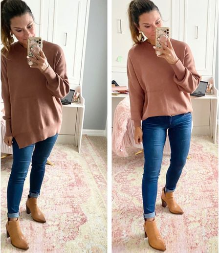 Best tunic for Fall — everything is true to size. Wearing a small in the top and 4 in the jeans. #justpostedblog   Tunic Fall Casual  Women's style Amazon  Abercrombie & Fitch
