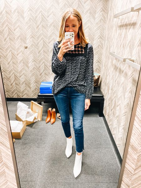 Nsale favorite! This Caslon top is perfect for hitting up the meetings.  Fits TTS. Jeans size down one. Booties TTS.  Steve Madden / AG Jeans / Nordstrom / Anniversary Sale    #LTKsalealert #LTKunder50 #LTKworkwear