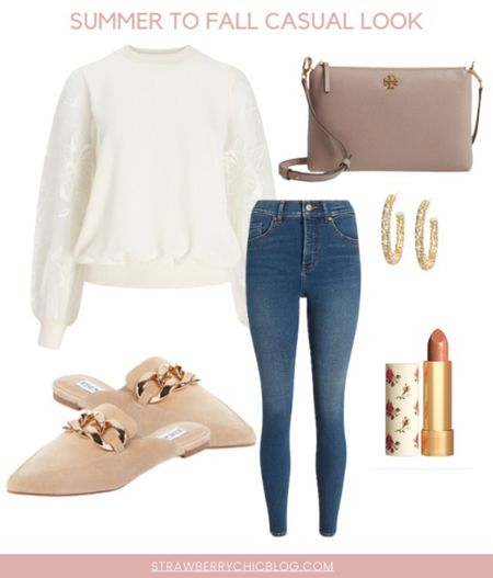 Summer to fall casual look- add a fun sleeves sweater to your jeans and mules   #LTKshoecrush #LTKunder100 #LTKstyletip