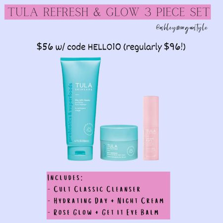Found a great deal on a few Tula faves! You get a full size Cult Classic cleanser, hydrating day and night cream and the rose glow and get it eye balm all for $56 (reg. $96) - must use code HELLO10 for that price! @liketoknow.it #liketkit #LTKbeauty #LTKsalealert #LTKunder100 #tula #tulaskincare #skincare #cleanser #moisturizer #sale #beautyfinds http://liketk.it/352iR