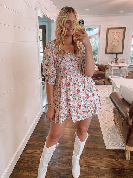 Mini dress and boots run TTS   #LTKshoecrush #LTKunder50 #LTKunder100