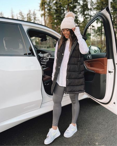 Size down in puffer vest - wearing small.   #LTKHoliday #LTKfit #LTKGiftGuide