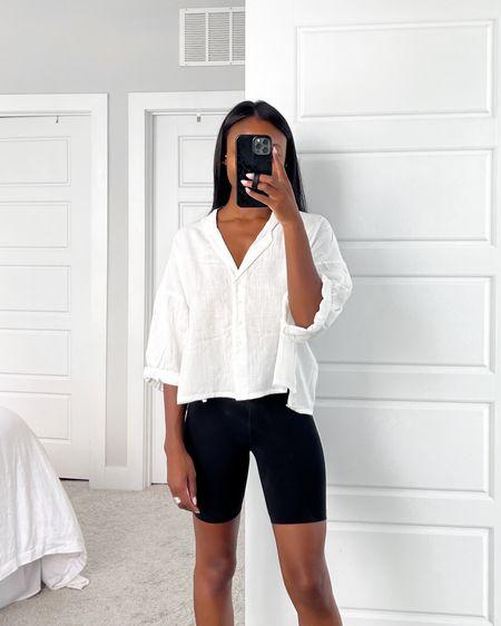 White Button Down Top, Black Biker Shorts @liketoknow.it #liketkit http://liketk.it/3hfZC #LTKDay #LTKunder50 #LTKstyletip