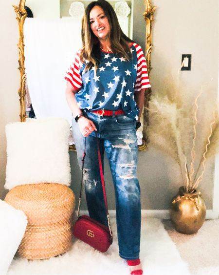 Almost July! I have the cutest tees to share with you!   My lilicloth  tees are just perfect for the July 4th celebration!   Use Code Joyb20! For a 20 percent discount!  I love it with my super distressed denim and red accessories. I also Love it with white denim!. . . . . http://liketk.it/3iELo #LTKcurves #LTKstyletip #LTKitbag #liketkit @liketoknow.it.family @liketoknow.it Download the LIKEtoKNOW.it shopping app to shop this pic via screenshot