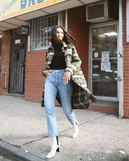 Turtleneck and jeans with a shacket and white boots http://liketk.it/35t5k #liketkit @liketoknow.it #LTKstyletip #LTKunder100 #LTKsalealert