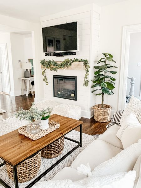 Neutral living room decor. Shiplap Fireplace http://liketk.it/3ipeZ #liketkit @liketoknow.it #LTKhome @liketoknow.it.home