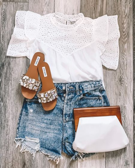 Target Summer Outfit|  Targetstyle| targetfind| target|  Eyelettop| distressedjeanshorts|stylebyaylin|whitetop|wildfable|express|loverlygrey|whiteclutch|stevenadden|anewdaytarget|wildfabletarget|  #LTKshoecrush #LTKSeasonal #LTKunder50