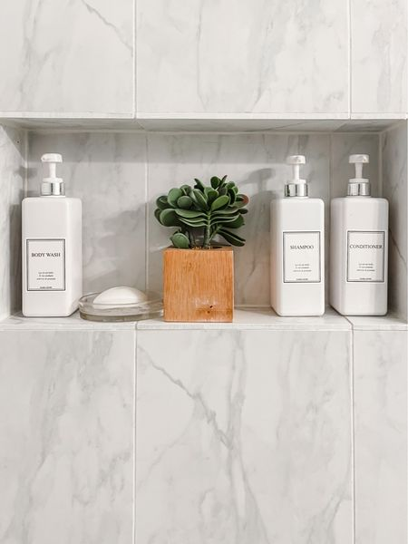 Keep your shower nook neat and tidy using Reusable Refillable Shampoo, Conditioner, Body Wash Soap Pump Bottle with Waterproof Label Stickers. Pack of 3 Shower Plastic Bottles, Soap Dispenser (Silver-White)  #bathroom #organization    #LTKstyletip #LTKhome #LTKunder50