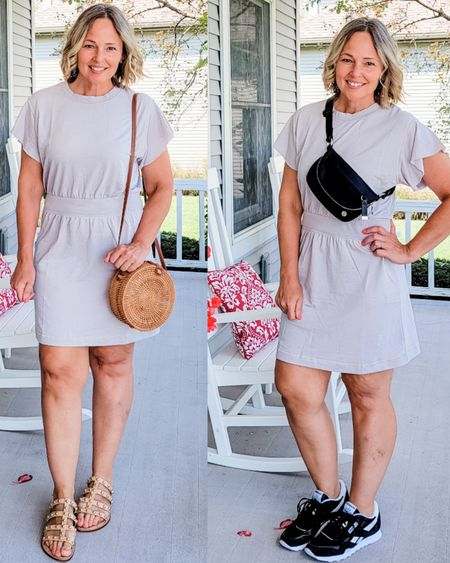 Casual everyday soft ruffled t-shirt sweatshirt soft knit dress with ruffled sleeves and worn with studied heeled slide sandals and black and white Reebok Classic Nylon sneakers and with a straw round rattan bag or Lululemon belt bag #Casual #dress #comfy #teacher #mom #summer #simple #Petite #ruffled #ruffle #gray #sneakers #sandals #reebok #Lululemon #comfortable http://liketk.it/3lk1f @liketoknow.it #liketkit
