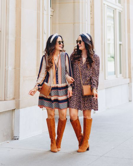 Leopard or patterned - which dress do you like best? #ad Fall is finally here and we are all about cute + affordable dresses that can be dressed up or down! We are so excited to partner with @LOFT today to share our top 20 dresses for the fall season + an amazing 40% OFF sale that ends today! Whether you're looking for something casual to wear with sneakers or something dresser to wear with tall boots like we have on here, LOFT definitely has it all! Head toTheDoubleTakeGirls.comfor all the details on our sister style looks plus much more. Also, this gorgeous leopard dress will be restocked this week so make sure to check back in a few days to grab one. P.S. you can shop everything in our blog post or via the LTK app. We have links in our IG stories too! We hope y'all have a great day!    #LTKstyletip #LTKshoecrush #LTKunder100