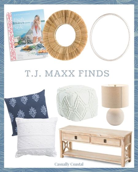 """Some very pretty coastal finds right now at T.J. Maxx including these adorable mirrors, blue and white pillows (the white is indoor/outdoor!), and this light wood bench! The lamps come as a set of two! - summer decor, summer decorations, summer home decorations, coastal decor, beach house decor, beach decor, beachy decor, beach style, coastal home, coastal home decor, coastal interiors, living room decor, coastal decorating, coastal house decor, home accessories decor, coastal accessories, living room decor, neutral decor, neutral home, blue and white home, blue and white decor, summer accessories, coastal living room decor, coastal family room, TJ Maxx finds, TJ Maxx home, affordable furniture, affordable decor, decor under $50, furniture under $100, summer cookbook, healthy cookbook, white mirror, beaded mirror, white beaded mirror, 28"""" round mirror, boho mirror, natural mirror, mirror for bathroom, mirror for entryway, mirror for nursery, wood bench, entryway bench, hallway bench, bench for bedroom, bench for end of bed, white pouf, textured pouf, living room pouf, textured decor   #LTKhome #LTKfamily #LTKunder50"""