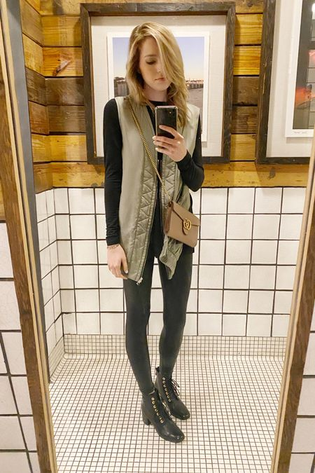I am obsessed with this super inexpensive tunic and faux leather leggings! 😍 They're the perfect base for a cute outfit. My vest is a couple years old but this similar one is half off! Also love this perfectly neutral Gucci WOC and lace-up booties for a night out. http://liketk.it/2Jxxe #liketkit @liketoknow.it #LTKitbag #LTKunder50 #LTKsalealert