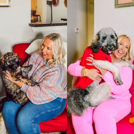 How it started 👉🏼 how it's going 😂 @dollythedoodlehtx is officially 8 months old and THRIVING! It's been a while so I'm giving a little update on her over on the Hello Dolly! page on the blog 🐕🦺  Both of my outfits and her pullover are available and I've linked them for y'all!