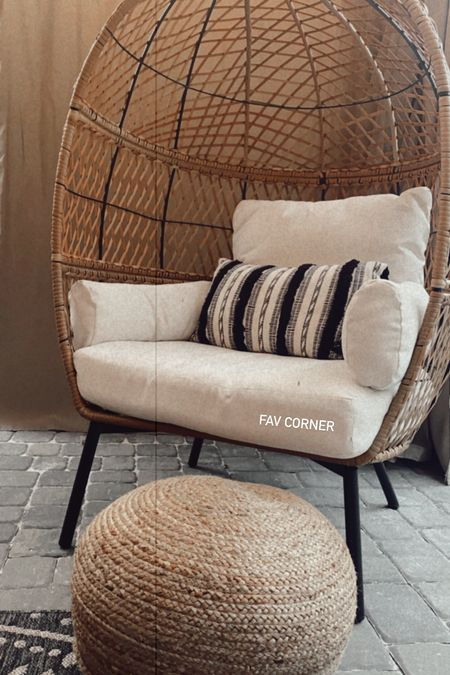 Favorite corner of my backyard seating area! This chair is sooo comfy and stylish. Loving the boho vibes!   #LTKSeasonal #LTKhome #LTKDay