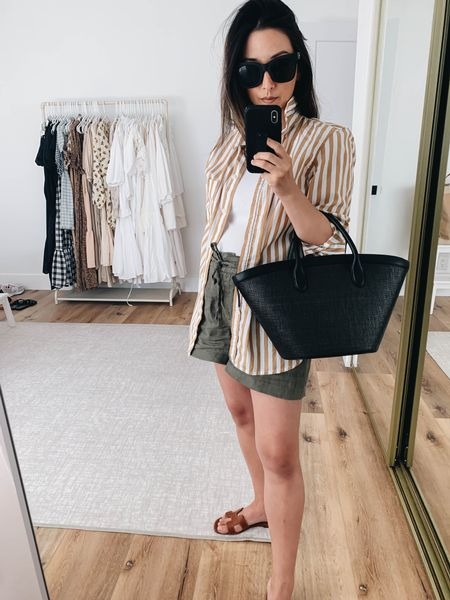 Maternity outfits. How to style a button up.   Shirt - J.crew 2 Tank - Michael Stars small Shorts - Michael Stars small Sandals - Hermès 35 Tote -  Vasic  Sunglasses - Quay   #LTKunder100 #LTKbump