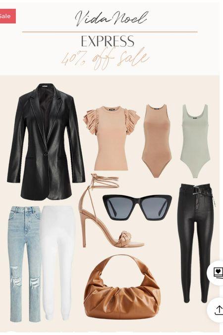 Express finds  LTK sale Faux leather  Bodysuit Leather joggers Bodysuit    #LTKSale #LTKstyletip #LTKsalealert