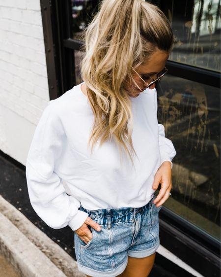 Small in white pullover, TS in jean shorts http://liketk.it/3jBNh #liketkit @liketoknow.it #LTKunder50 #LTKsalealert Amazon finds, Amazon fashion, Amazon sunglasses