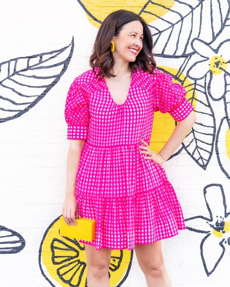 """This beautiful pink and white gingham dress is on sale!   Get it! You won't be disappointed. The quality is fabulous. The material is beautiful. And the pockets are wonderful.   Runs true to size. I'm wearing a medium. It's about 36"""" in length - just making my length requirement. I'm 5'10"""" for reference.     #LTKSeasonal #LTKsalealert"""