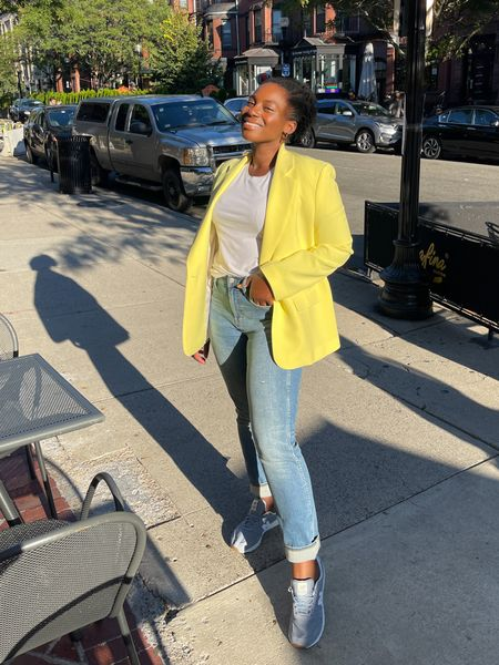 Casual outfits need blazer, straight  jeans, and sneaker. New balance sneakers. Yellow blazer. Abercrombie jeans. Fall outfit   #LTKcurves #LTKunder100 #LTKSeasonal